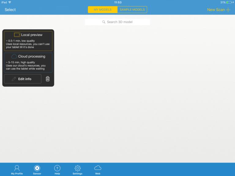 delete button itseez3d app
