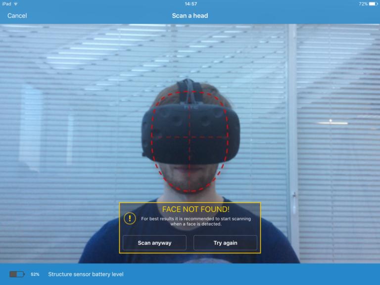 No face found itseez3d app